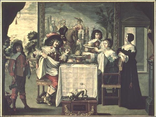 Bosse Abraham (d'après) - le goût (suite des 5 sens) - 17e siècle - huile sur toile - 1,04 x 1,37 m - Tours, Musée des beaux-arts