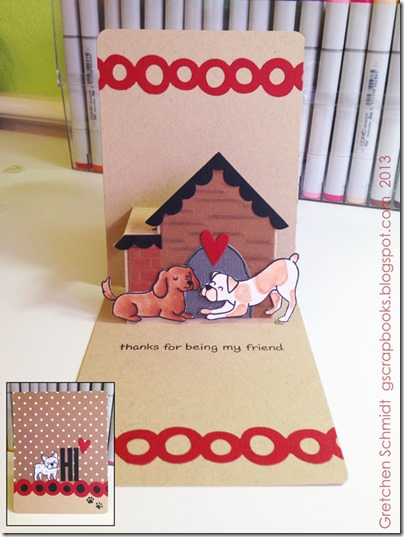 HI card with NEW House Pop `n Cuts Insert and matching Thinlits by @gscrapbooks