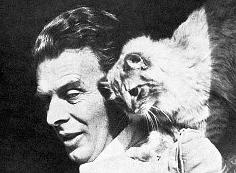 Олдос Хаксли с безымянным котом...
