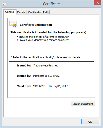 The SSL certificate for *.azurewebsites.net