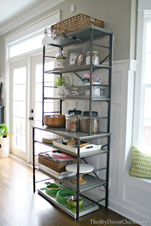 metal and wood shelves