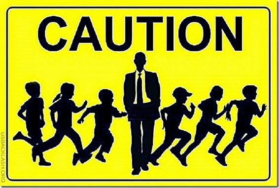 Caution Sign- Obama crossguarding child illegal aliens