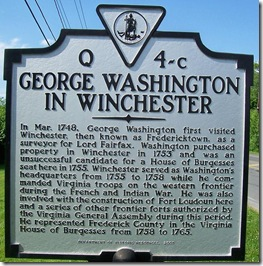 George Washington In Winchester, marker Q-4c in Frederick County, VA
