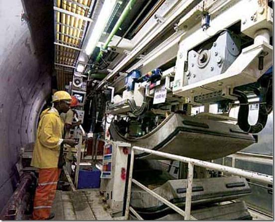 Tunnel lining segments inside the TBM