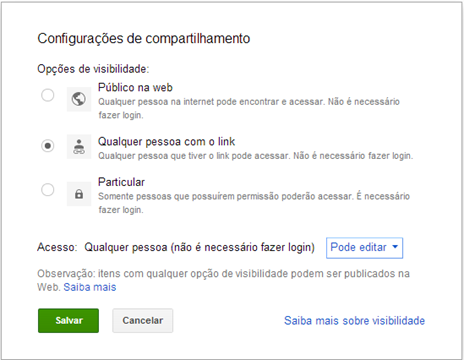 Configurações de compartilhamento - Google Drive 3