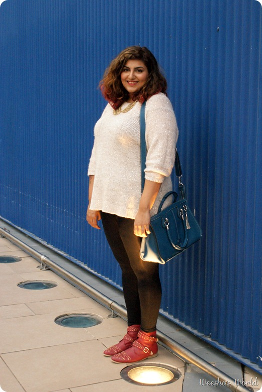 Weesha outfit studded boots from new look, sequin sweater from h & m, gold collar necklack from new look, folli follie bag