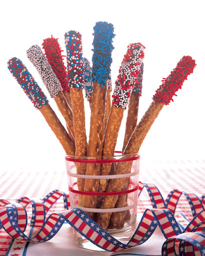 Like most sparklers, these are extinguished after a short while -- with several large bites. They are really so easy to make, and are a festive dessert or snack item.  <http://www.marthastewart.com/265330/pretzel-sparklers>