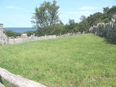 Plimoth Plant fenced field ocean