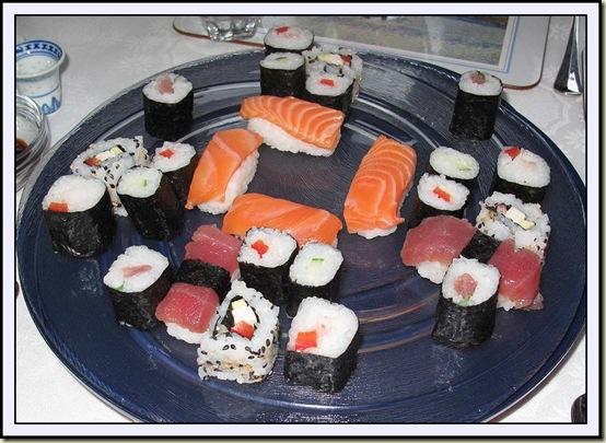 Andrea and Thomas's plate of sushi