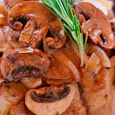 Pork Roast Recipe with Mushrooms and Brown Sugar Apricot and Pomegranate Sauce