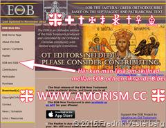 Eastern Orthodox Bible EOB Bibel hemsida med amorism symbol