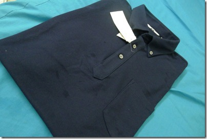 navy blue polo tee from Uniqlo