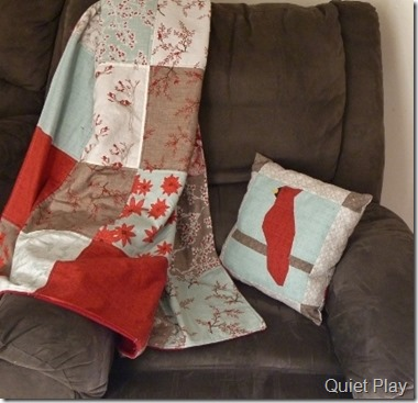 Winter's Lane quilt and cushion