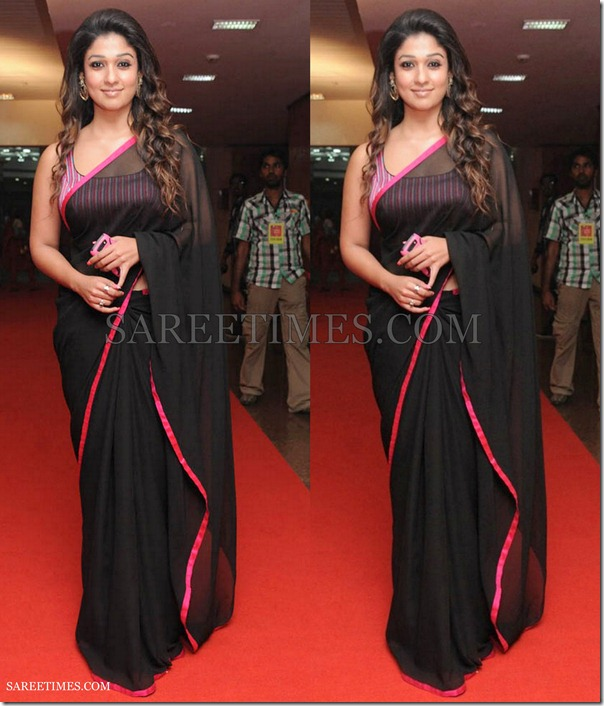 Nayanathara_Black_Georgette_Saree