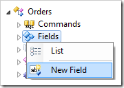 New Field context menu option for Orders data controller.