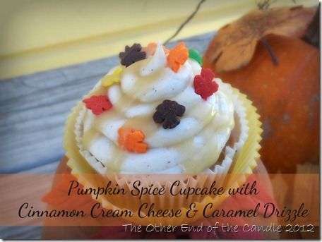 Semi-Homemade Pumpkin Spice Cupcake with Cinnamon Cream Cheese & Homemade Caramel Drizzle