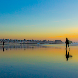 surfing sunset  by Roman Gomez - Sports & Fitness Surfing ( ocean beach, romangomez, romansgallery, romanphotography, ob pier, , people, crowd, humanity, society, Urban, City, Lifestyle )