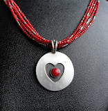 Heart w/Coral on Coral Seed Beads.....Sold