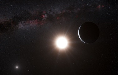 ilustração do planeta em torno da Alfa Centauri B