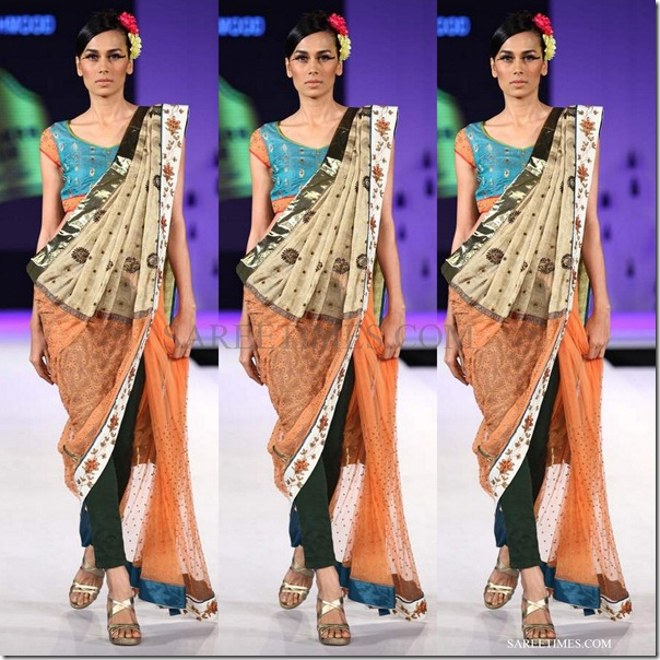 nida mahmood b_orange_beige_saree