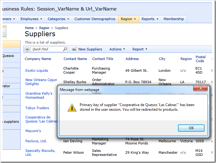 The browser alert message created by SQL action 'a100 – SQL | Show Supplier Products'