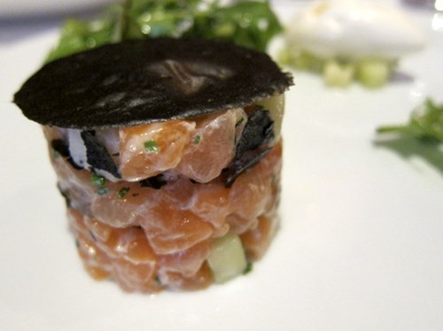 Tartar of Two Salmons, One Smoked, One Fresh, Rocket and Mizuna Salad, Fromage Blanc and Lemon Sorbet, Thin Tuile