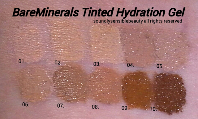 BareMinerals Complexion Rescue Tinted Hydrating Gel Cream; Swatches of Shades Opal 01, Vanilla 02, Buttercream 03, Suede 04, Natural 05,  Ginger 06, Tan 07, Spice 08, Chestnut 09, Sienna 10,