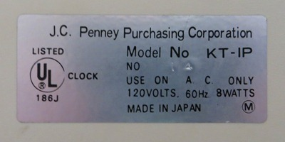 Pencron (Lumitime) clock for J.C. Penney, model KT-IP