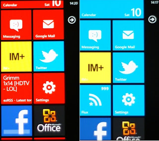 The various colours of WP7. I do like the tile interface and the fact that they display useful information. Somewhere between the very useful Android widgets and the utterly useless iOS icons.