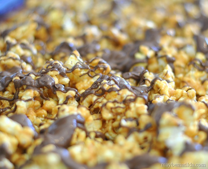chocolate drizzle on peanut butter popcorn