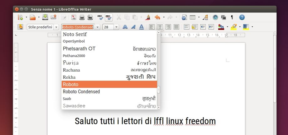 Font Android L in LibreOffice