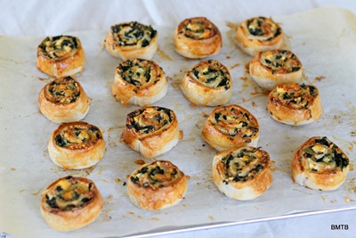 Delicious Feta and Spinach Pinwheels out of the oven