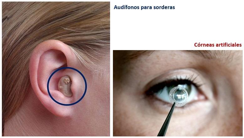 Corneas artificiales y audifonos de sordera . importancia quimica salud