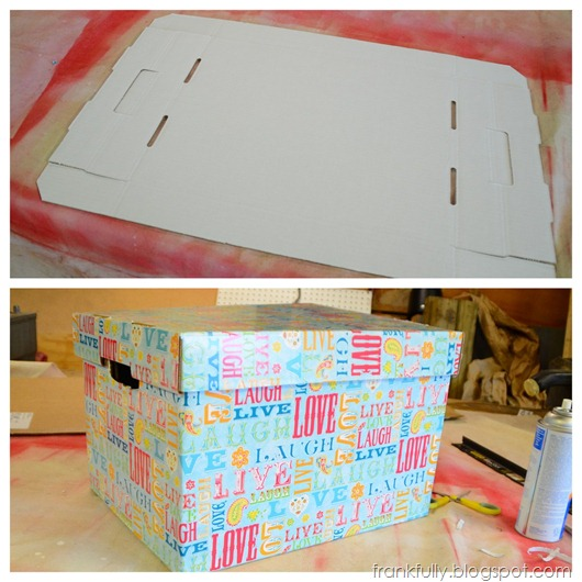 covering bankers boxes with paper