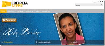 Página inicial do EritreiaLivre.org.br com imagem da cantora Helen Berhane