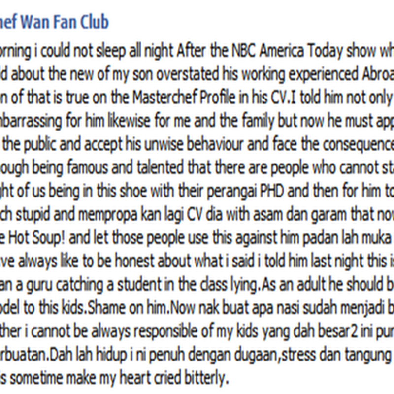 Anak Chef Wan menipu ?