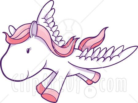 Tout ce que vous voudrez... - Page 2 13269-White-And-Pink-Winged-Horse-Pegasus-Flying-Clipart-Illustration