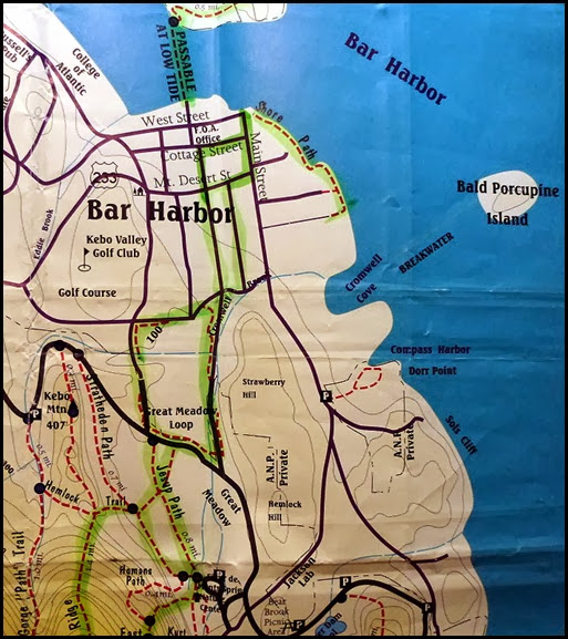 00 - map - Jesup Path, Great Meadow Loop, Bar Harbor