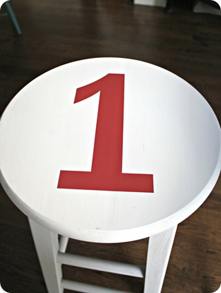 stencil on stool