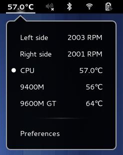 Hardware Sensors Indicator su Gnome Shell