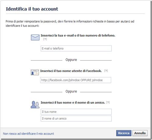 Facebook Identifica il tuo account