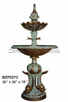 BZF0072 Two-Tiered Frog and Fish Bronze Fountain