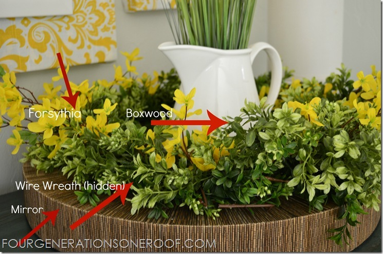 Spring mantel boxwood forsythia (tutorial pic)