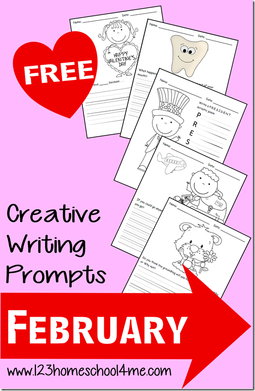 FREE February Writing Prompts for K-4th Grade #writingprompts #homeschooling
