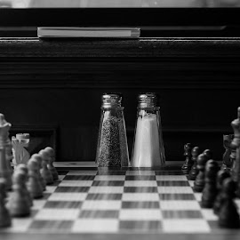 Black and White Game by Viktor Miloslavsky - Artistic Objects Still Life ( black and white, white, chess, pepper, game, black, salt )