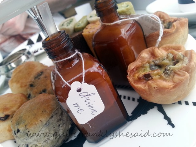 4 mad hatter's afternoon tea sanderson hotel drink me potion daily quiche savoury sweet scones