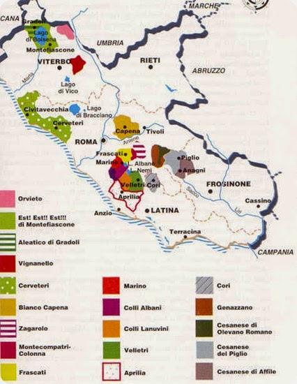 cucina laziale mappa vini