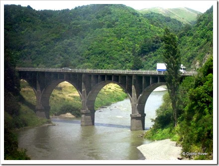 Road bridge at the Woodville end of the Manawatu Gorge.