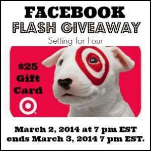 Facebook Flash Giveaway at Setting for Four $25 Target Gift Card