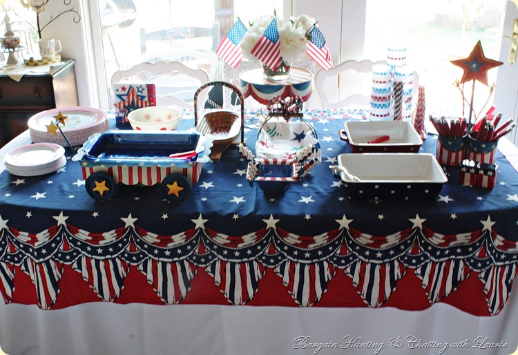 Red white and blue snack table